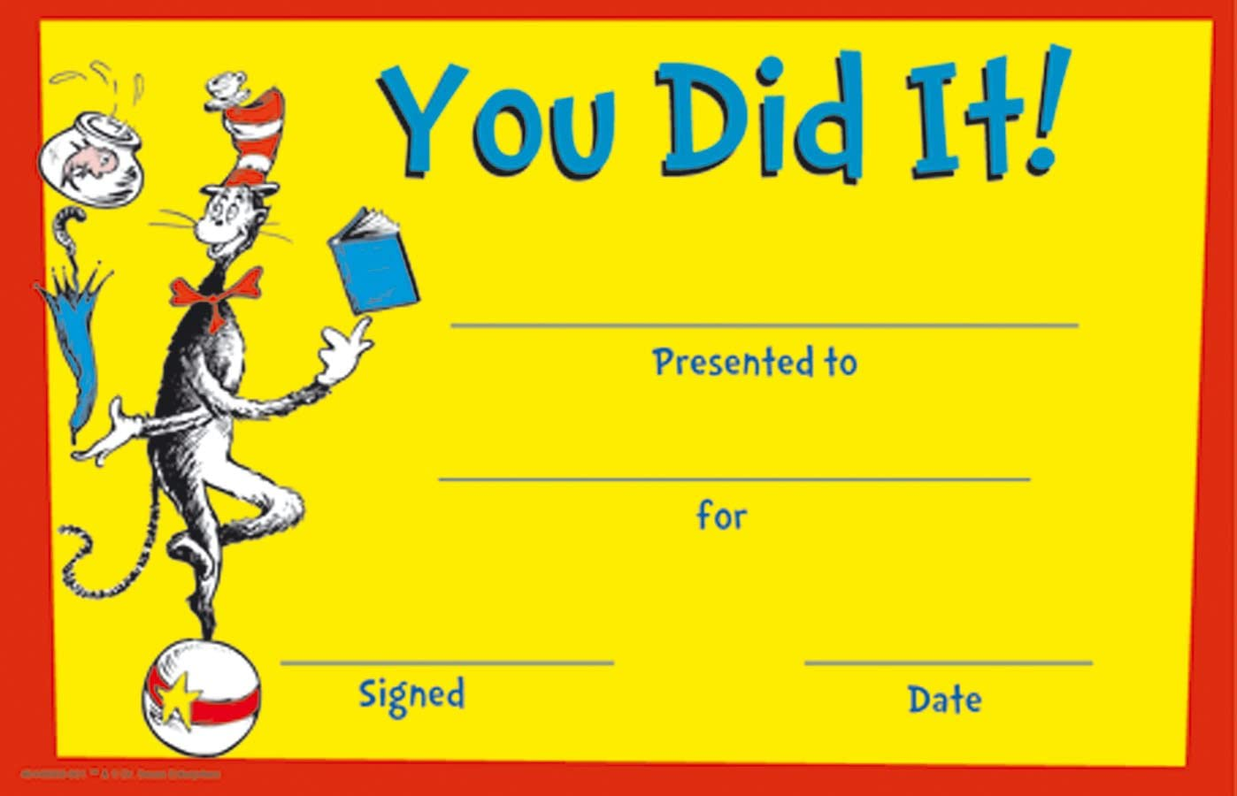 Eureka Cat in The Hat You Did It! Set of 36 Recognition Awards