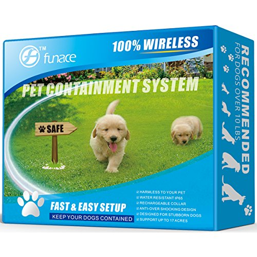 Wireless Pet Fence - Free to Roam Wireless Containment for Dogs - Rechargeable & Waterproof - Vibration & Static Shock Collar - Easy Installation No Need to Dig Trench & -