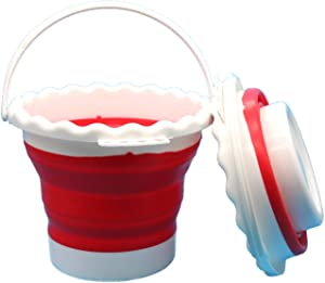Portable Foldable Collapsible Silicone-Plastic Bucket for Paintbrush Wash, Fishing, Camping, and Home, 0.66 Gallon Capacity, Red and White (Red)