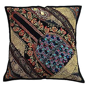 """Decorative Traditional Handmade cushion Cover 40 Cm Beaded Patchwork Pillow Case Throw Gift Art 16""""X 16"""""""