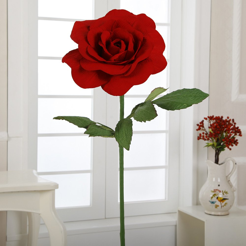 S-384 15'' Paper Rose with Stem(Red, 6pcs) by Flora Bunda