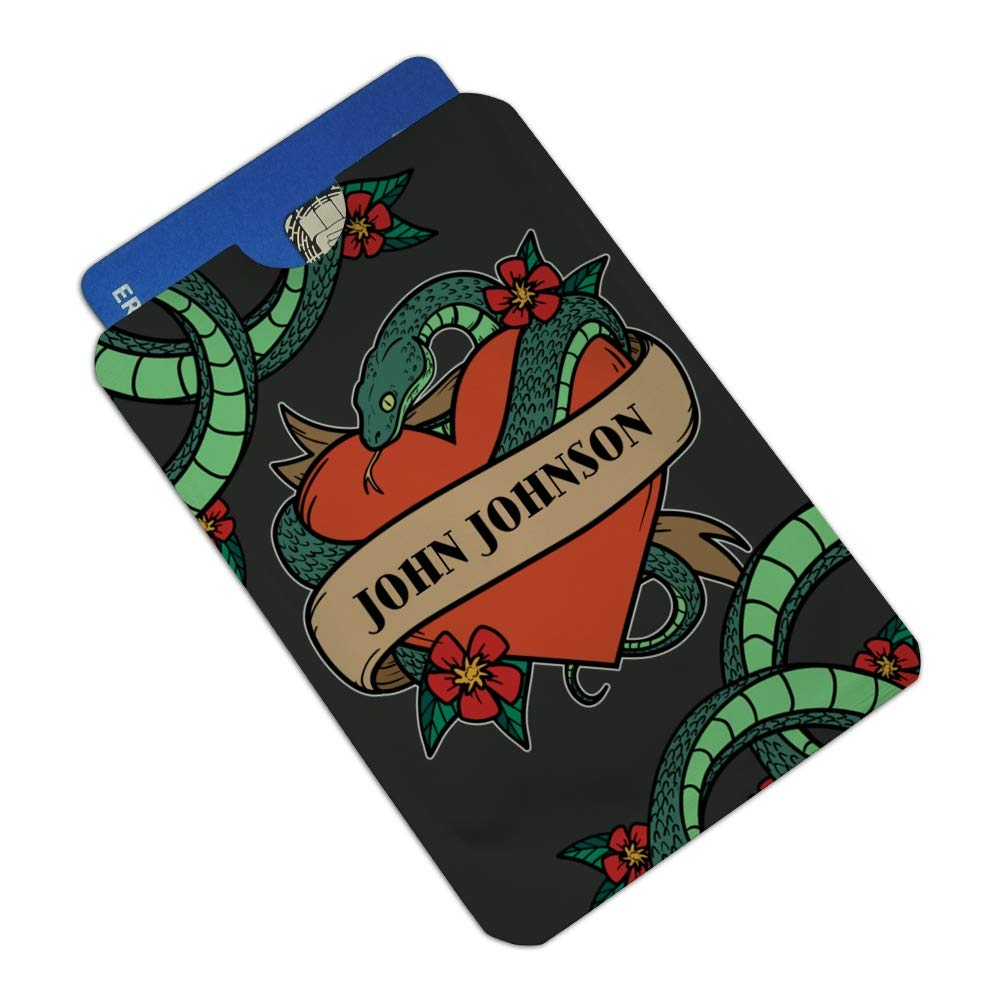 Personalized Custom 1 Line Snake Heart Tattoo Style Credit Card RFID Blocker Holder Protector Wallet Purse Sleeves Set of 4