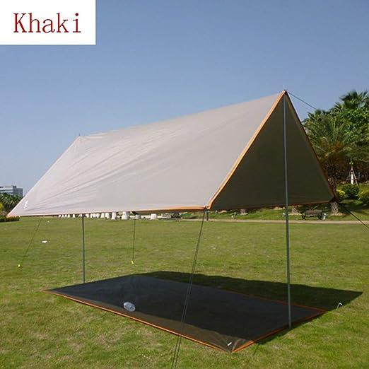 CAIJUN Toldo Impermeable Refugio Playa Lona Carpas De Camping Al Aire Libre Portátil Impermeable Protector Solar Pérgola, 2 Barras De Soporte, 5 Colores, 3 Tallas (Color : Khaki, Size : 3x4m): Amazon.es: Hogar
