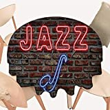 Premium Round Tablecloth Image of Bright Neon All Jazz Sign with Saxophone on Brick Wall Everyday Use, 70 INCH Round