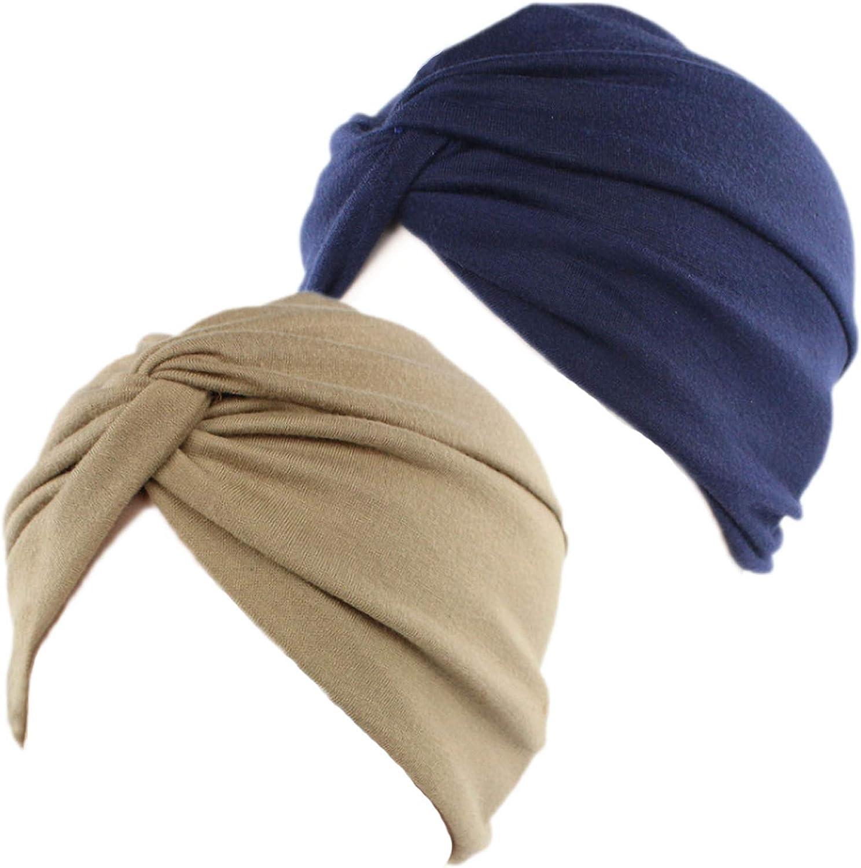 2 Piezas Pañuelos Oncológicos Turbante Gorros Oncológicos Mujer Pañuelos Quimioterapia Cabeza Mujer Algodón Elástico Frontal Cruzado Turbante para Mujer Cáncer Pérdida de Pelo