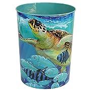 Bella Coastal Decor Sea Turtle Tin Waste Basket