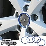 audi ホイール センターキャップ Audi 車のホイールハブカバートリムストリップ外観改造ハブキャップデコレーションサークルオートアクセサリー3Dステッカー 4個/セット ブルー K001-31