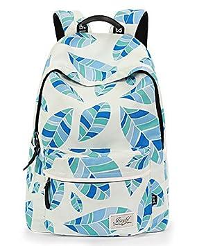 Mujer Mochilas Escolares Juveniles Casual Hojas Impresa Mochila Backpack Azul: Amazon.es: Equipaje