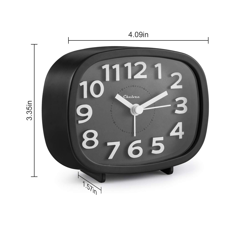 "Ultra Small Silent with No Ticking Black 3/"" Quartz Analog Alarm Clock with Night Light Chelvee Alarm Clock"