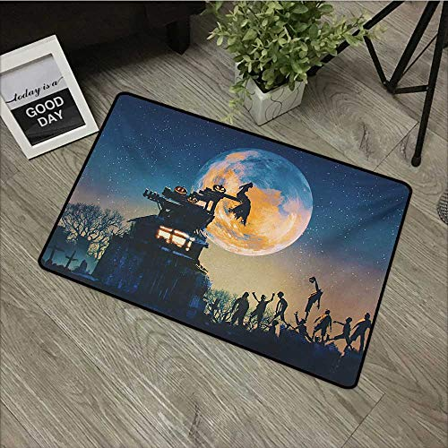 Floor mat W35 x L47 INCH Fantasy World,Dead Queen in Castle Zombies in Cemetery Love Affair Bridal Halloween Theme,Blue Yellow Our Bottom is Non-Slip and Will not let The Baby Slip,Door Mat Carpet -
