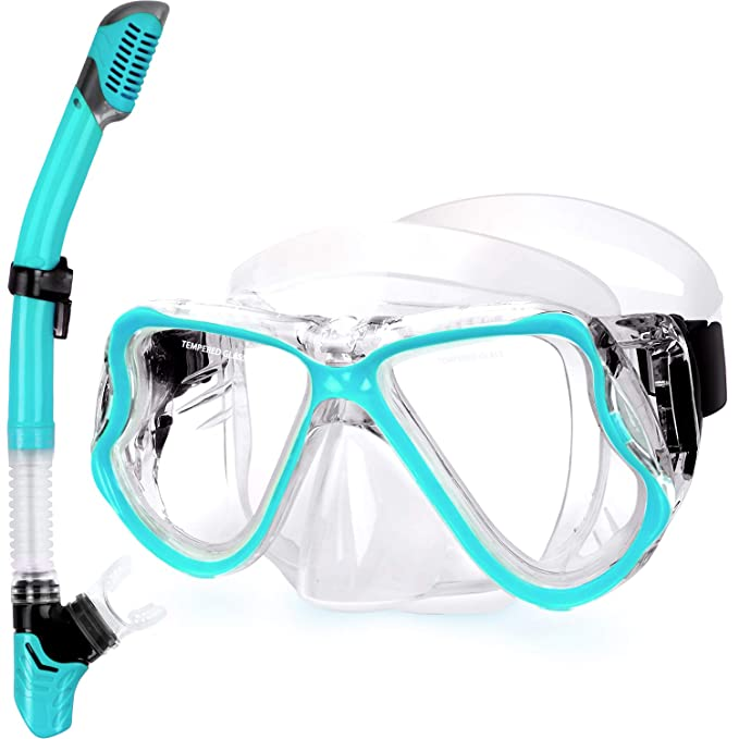 Greatever 2019 Newest Dry Snorkel Set,Panoramic Wide View,Anti-Fog Scuba Diving Mask,Easy Breathing and Professional Snorkeling Gear for Adults best snorkel masks