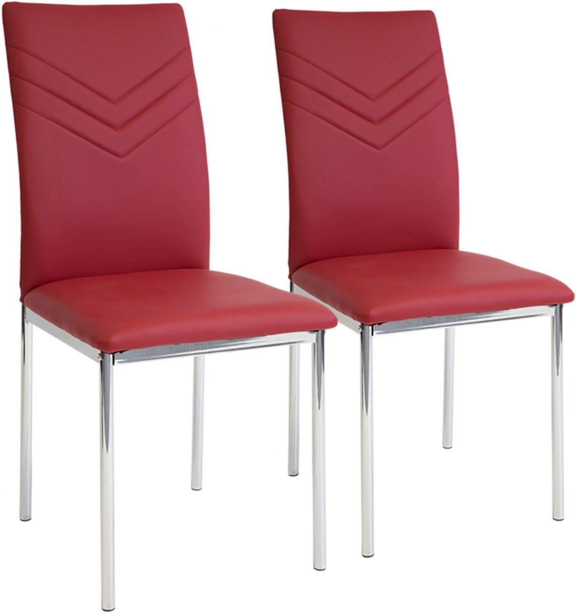 Rosso Piede Cromato SGS Tested Albatros 2925 Verona Set di 2 sedie da Pranzo