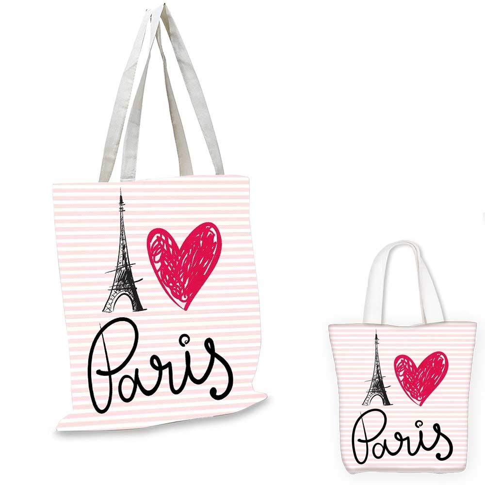 Paris City Decor canvas messenger bag Eiffel Tower With Paris shopping bag for women I Love You Message Polka Dot Background Vintage Art 12x15-10