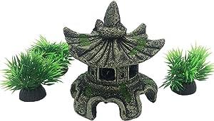Smoothedo-Pets Fish Tank Decorations Aquarium Decoration Small Size Ornaments Accessories Fish Hides Asian Garden FengShui Lantern