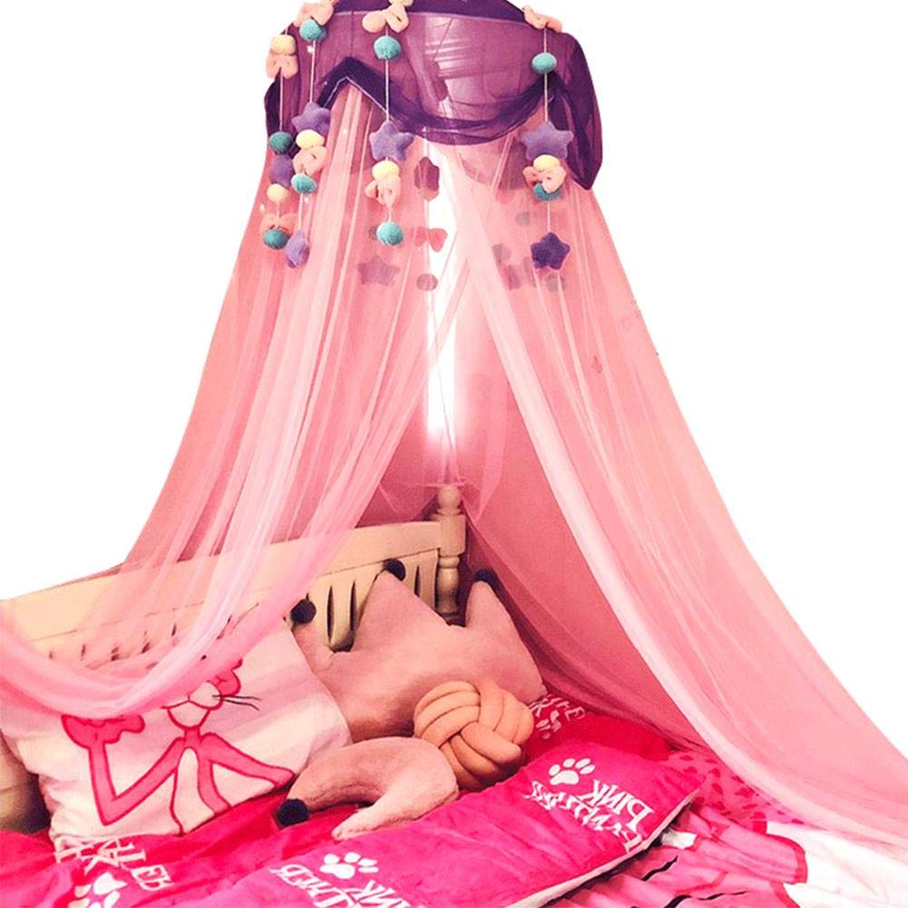 Luerme Kids Mosquito Netting Princess Bed Lace Ruffle Dome for Baby Round Curtain Dome Bed Mosquito Canopy Drapes Hanging Net