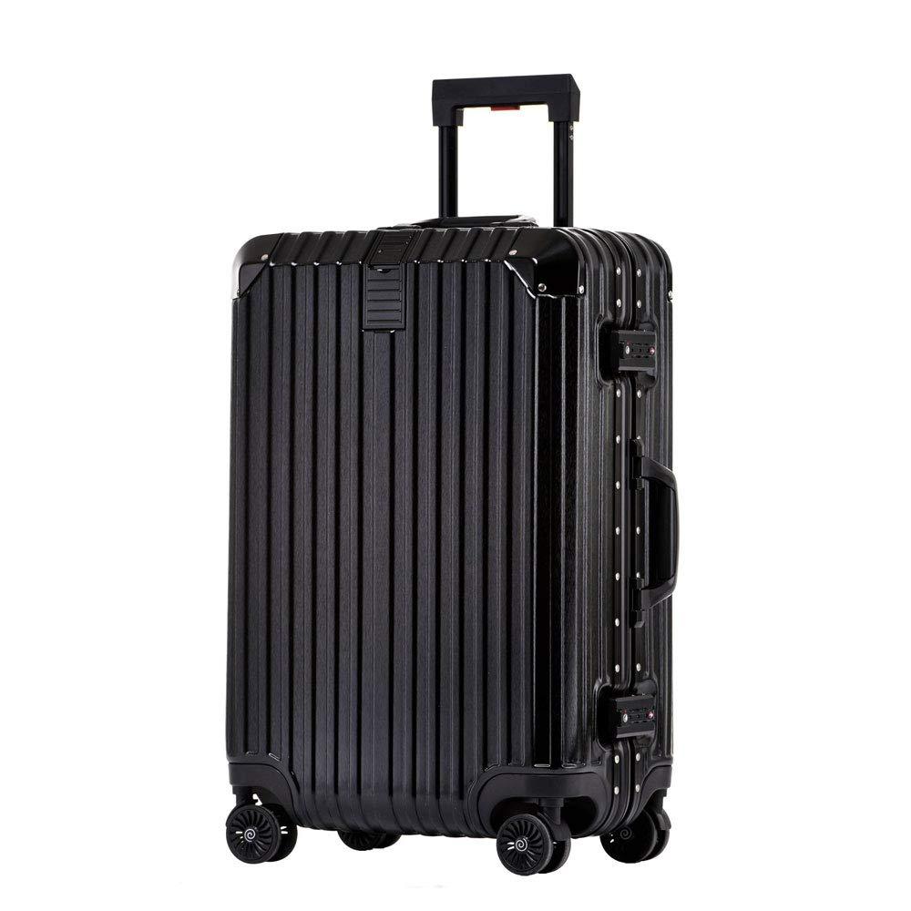 トロリーケース24インチアルミフレームパスワードスーツケース男性と女性ユニバーサルホイールビジネススーツケース (Color : ブラック, Size : 24 inch)   B07QVKS9GN