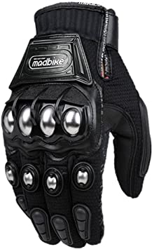 Men/'s Motorcycle Leather Racing Motorcycle Gloves with Metal Knuckle Protectors