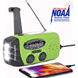 NNOOAADIO Emergency Weather Radio, Hand Crank Solar Battery Operated Survival NOAA AM FM Radio Portable with 3 LED Flashlight Kit, Built-in 1200mAh USB Power Bank for Cellphone
