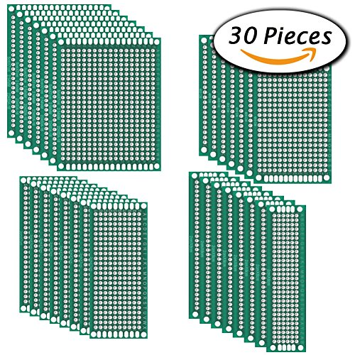 30 Pcs Double Sided PCB Board Prototype Kit for DIY, 4 Sizes by Paxcoo Blank Components Kit