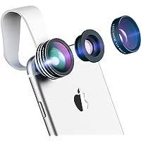 Mpow Universal 3 en 1 Kit d'Objectifs Professionnel Fisheye à 180° + 0.65X Objectif Grand Angle + 10X Objectif Micro pour iPhone, Samsung Galaxy Series, Huawei, Wiko et Plupart des Smartphones
