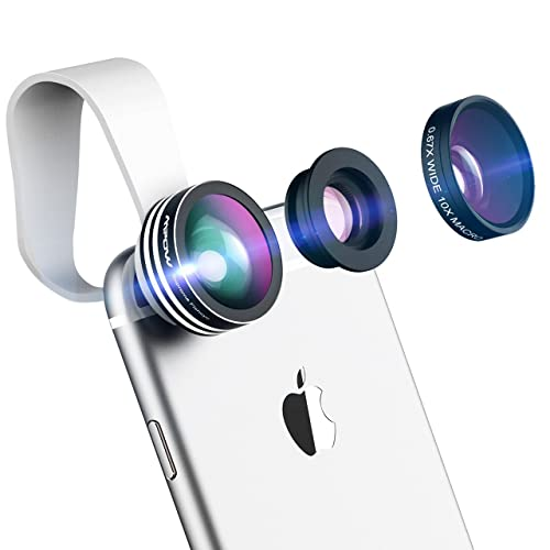 Fisheye Lens, Mpow 3 in 1 Clip-On Camera Lens Kit 180 Degree Supreme Fisheye + 0.65X Wide Angle+ 10X Macro Lens for iPhone 7/6/6s Plus/5/SE, Samsung S8/S7/S6, Samsung S7/S6/S5/S4, HTC, huawei and Other Smartphone