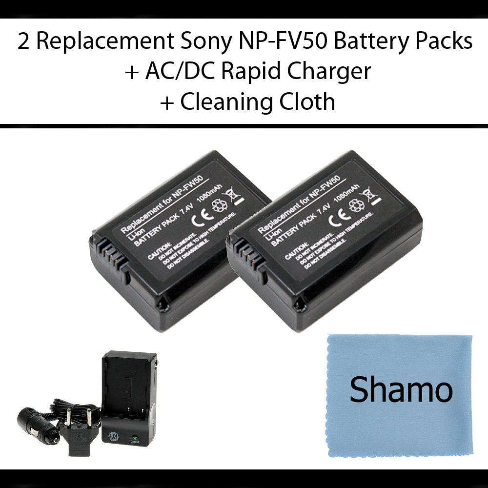 Accessory Kit for Sony Digital Cameras with 2 Replacement Battery Packs For Sony NP-FW50 For The Sony Alpha NEX-3 NEX-5 SLT-A33 SLT-A55 Digital Cameras + AC/DC Charger +Cleaning Cloth by Sony