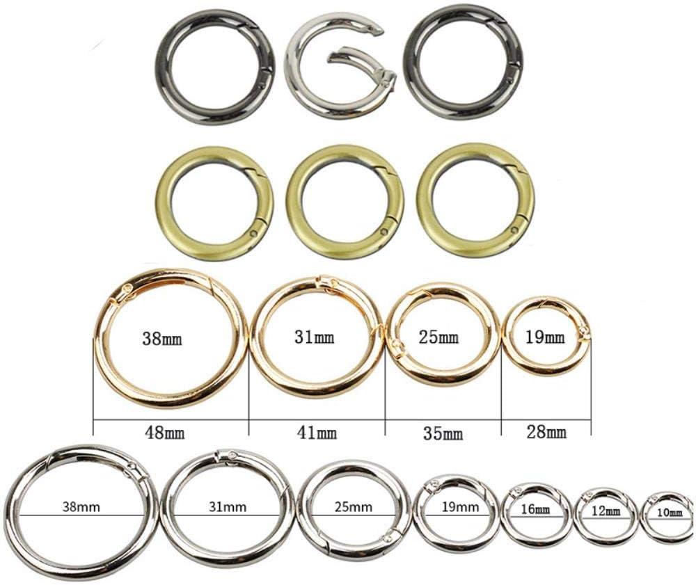 ASDFGH 2 Piezas Spring Gate Ring Llavero abrible Bolso de Cuero Correa de cinturón Cadena de Perro Hebilla Broche de presión Clip Trigger Bag Parts Accesorios, Bronce, 38 mm