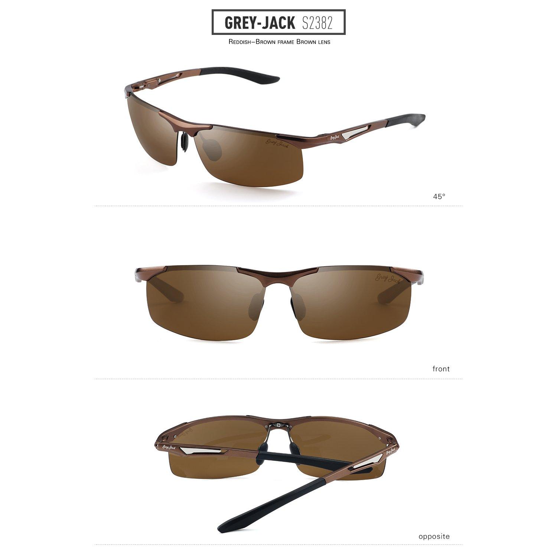 Gris Jack polarizadas Deportes Gafas de sol Marco de aleación de aluminio ultra light de la mitad para hombre Adolescente - S2382C3, Reddish-Brown Frame ...