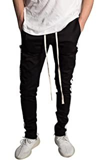 785cb0f43f1 KDNK Men s Tapered Skinny Fit Stretch Drawstring Ankle Zip Striped Track  Pants
