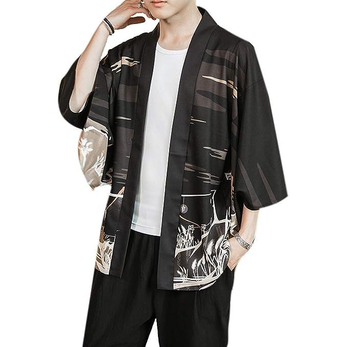 BLFGNCOB - Kimono de Moda Japonesa para Hombre, Chaqueta ...