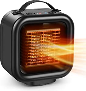 Portable Space Heater, 1500W Double Oscillating Electric Ceramic Heater Adjustable, 3S Quick Heat Up, Overheat & Tip-Over Protection, Portable Heater Fan for Office Home Indoor