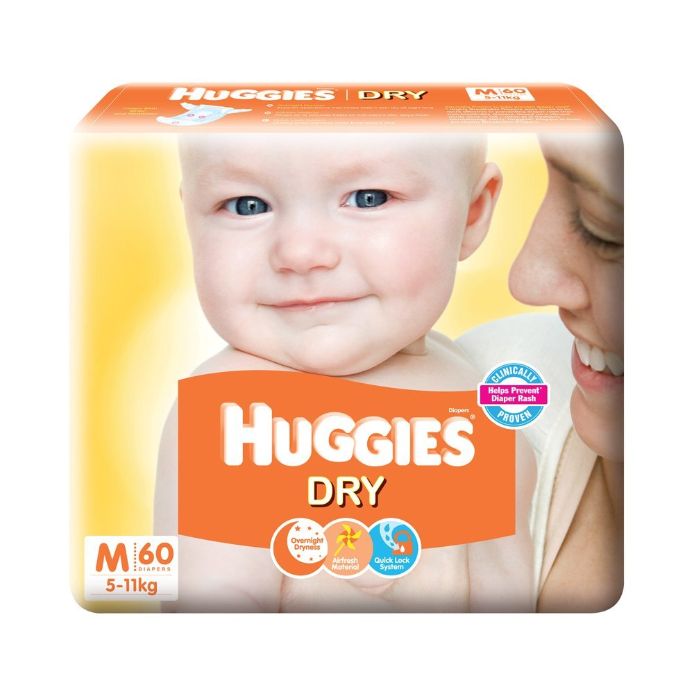 Buy Huggies New Dry Medium Size Diapers 60 Counts Online At Low Pampers Premium Care Tape Nb 52 Prices In India
