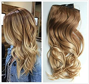 Amazon 20 inches full head ombre dip dyed loose curls wavy 20 inches full head ombre dip dyed loose curls wavy curly clip in hair extensions pmusecretfo Gallery
