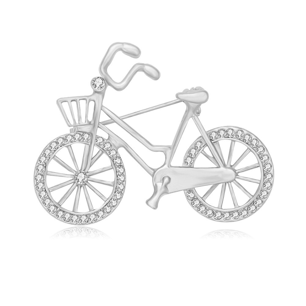 SENFAI Sports Style Gold Color Bike and Bicycle Brooch for Sportsperson (silver)