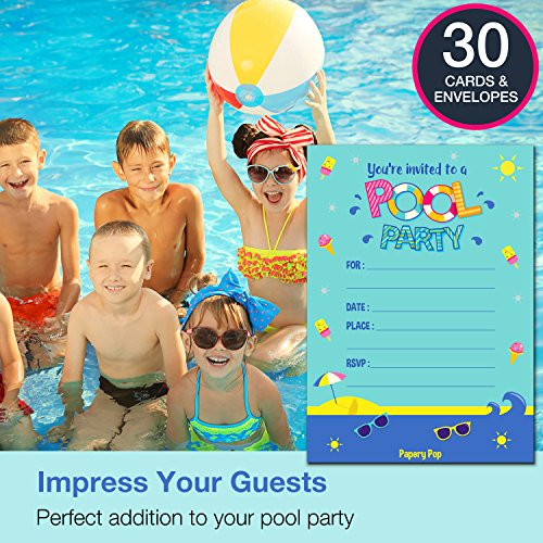 30 Pool Party Invitations with Envelopes - Kids Birthday Invitations for Boys or Girls
