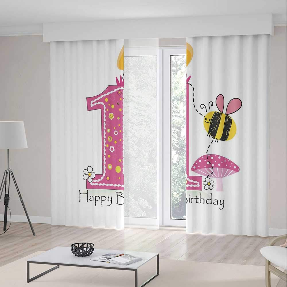C COABALLA Decor Collection,1st Birthday Decorations,for Bedroom Living Dining Room Kids Youth Room,Cartoon Like Image with Bees Party Cake Candle Print2 Panel Set,103W X 94L Inches
