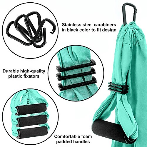 Aerial Yoga Swing Set - Yoga Hammock - Aerial Trapeze Kit + 2 Extension Straps & eBook - Large Flying Yoga Inversion Tool - Anti-Gravity Hanging Yoga Sling - Indoor Outdoor Fly Yoga - Men Women Kids by Yoga4You (Image #3)