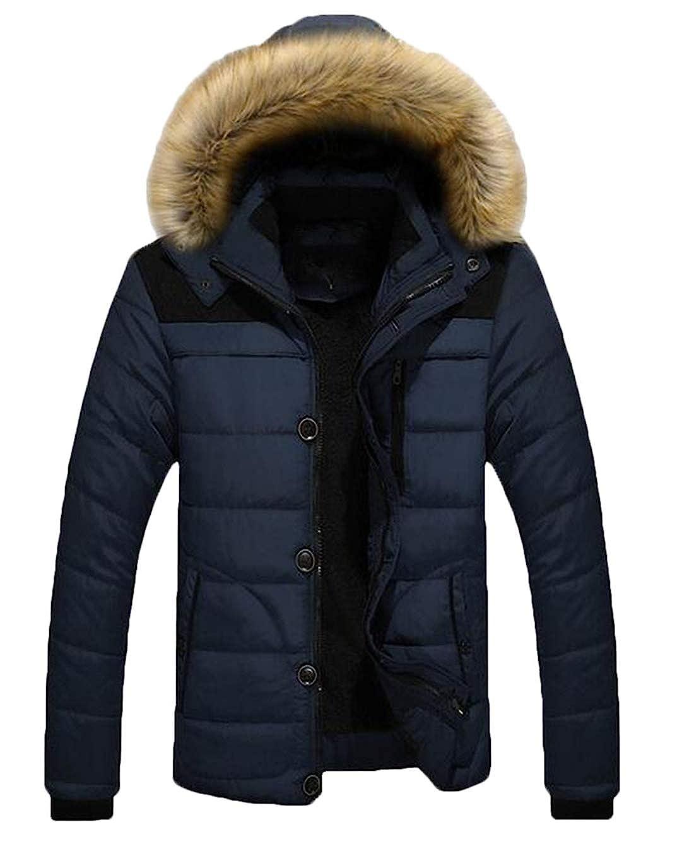 X-Future Mens Warm Thicken Winter Fleece Lined Faux Fur Collar Hooded Jacket Outwear