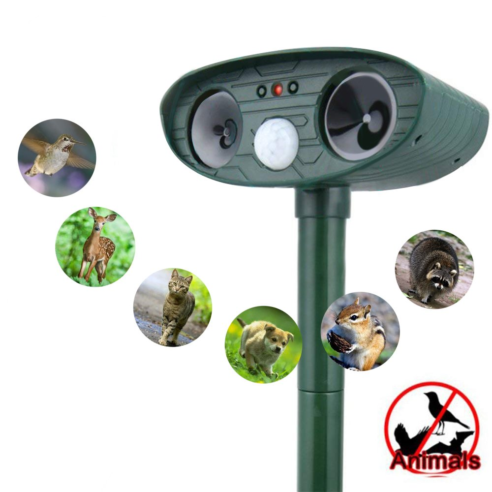 Ultrasonic Animal Repellent, Outdoor Solar Motion Activated Dog Repeller, Cat Repellant, Foxes Repellent, Birds Repellent, Skunks Repellent, Rod Repellent for Garden, Lawn, Yard