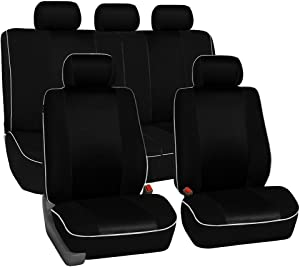 FH Group FH-FB063115 Full Set Sports Fabric Car Seat Covers Solid Black, Airbag Compatible and Split Bench - Fit Most Car, Truck, SUV, or Van