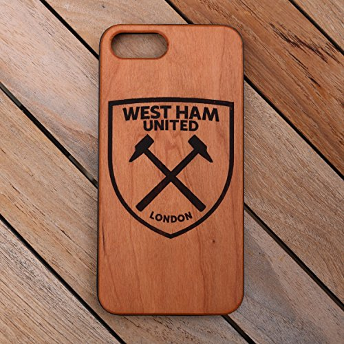 d Custom Engraved On A Cherry Wood Phone Case With Flexible TPU Sides For IPhone 6, 7 And 8 (CH7-WESTHAM) (Cherry Ham)