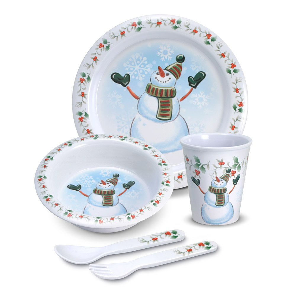 Amazon.com | Pfaltzgraff Winterberry Melamine 5 Piece Kids Snowman ...