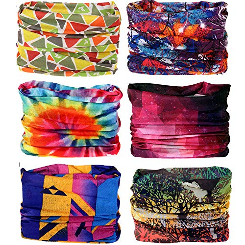6PCS/15PCS 16-in-1 Multifunctional Headwear Yoga Sports Stretchable Casual Headband Seamless Uv Solid Moisture Neckwarmer Headwrap Mask Bandana Scarf (6pcs-Color series1) ()