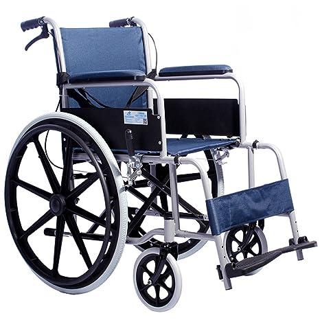 ZZHF Sillas plegables plegables de acero silla de ruedas mayores discapacitadas Scooters pequeña silla de ruedas