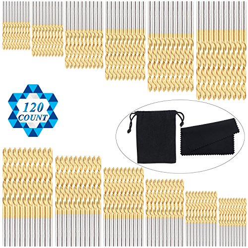 SOTOGO 120 Count Twist Drill Bit Professional HSS Brad-Point Drill Bits Set,Micro Precis 1/8 1/16 3/64 5/64 3/32 7/64 Length, Using for Steel Wood Plastic Aluminum Alloy With Black Bag ()