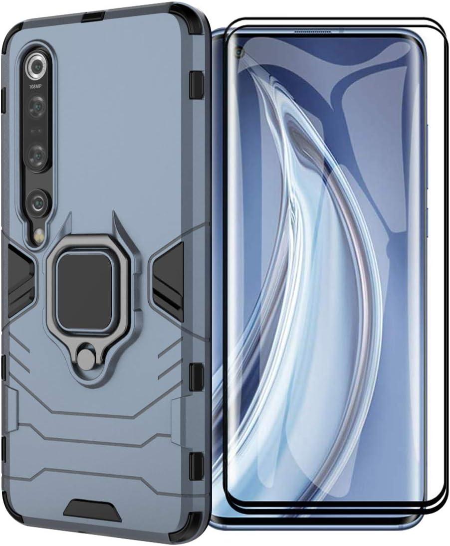 XIFAN Funda para Xiaomi Mi 10 5G/Mi 10 Pro 5G, [Robusto] Anillo Metálico Soporte [Funciona con El Montaje De Coche Magnético] Case Carcasa, Azul + 2 Piezas Protector de Pantalla
