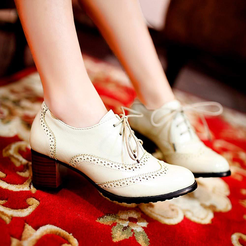 Amazon.com | FORUU Fashion Womens Hollow Shoes Shallow Mouth Single Shoes Thick Heel Shoes | Shoes