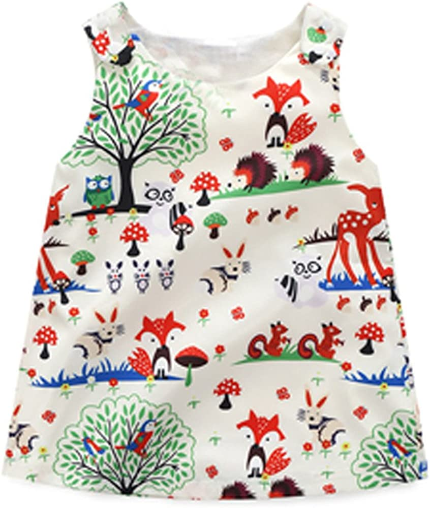 Summer Outfits Baby Girl Clothes Sets Animal Trees Pattern Sleeveless T-Shirt Pants Headband