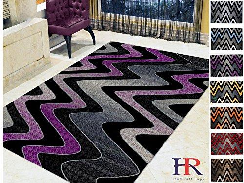 Handcraft Rugs-Purple/Grey/Silver/Black/Abstract Area Rug Modern Contemporary Zigzag/Wave Design ()