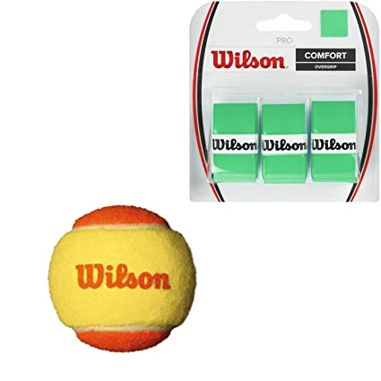 Wilson US Open Orange Tournament Transition Tennis Balls (Low Compression) - (1) Can of 3 - Starter Kit or Set Bundled with (1) 3-Pack of Wilson Pro ...